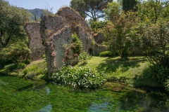 "TO GO WITH Italy-culture-tourism-literature-botany,FEATURE by Francoise Kadri This photo taken on May 18, 2013 shows a view of the Garden of Ninfa near Cisterna di Latina. Rare plants, enchanting ruins and the tinkle of waterfalls: the English-style botanical oasis of Ninfa near Rome is a secret idyll billed as ""the world's most romantic garden"". AFP PHOTO / LAURENT KALFALA"